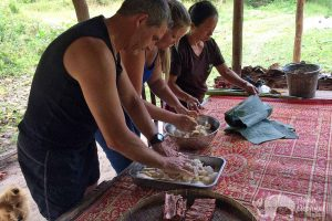 Preparing food for elephants on ethical elephant tour in Northern Thailand